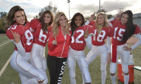 Adriana Lima, Alessandra Ambrosio, Jasmine Tookes, Elsa Hosk and Taylor Hill in Victoria's Secret Super Bowl 2016 Commercial