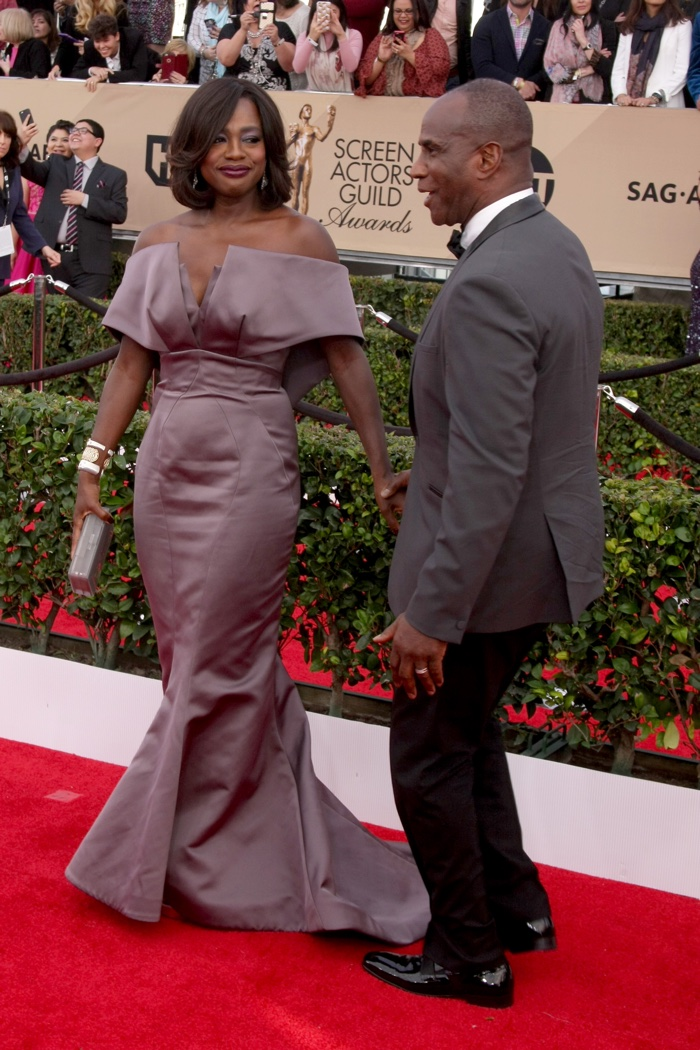 JANUARY 30th: Viola Davis attends the 2016 SAG Awards wearing a purple Zac Posen dress. Photo: Helga Esteb / Shutterstock.com
