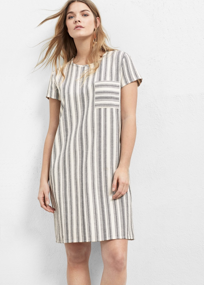 Violeta by Mango Striped Cotton Dress