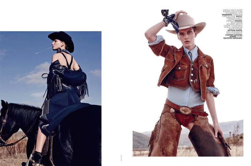 Texgirl: Nagi Sakai Captures Western Style for Marie Claire Italia
