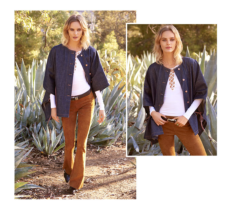 See by Chloe Denim Cape Coat, Free People Lace Up Layering Top and Getting Back to Square One Suede Flare Pants