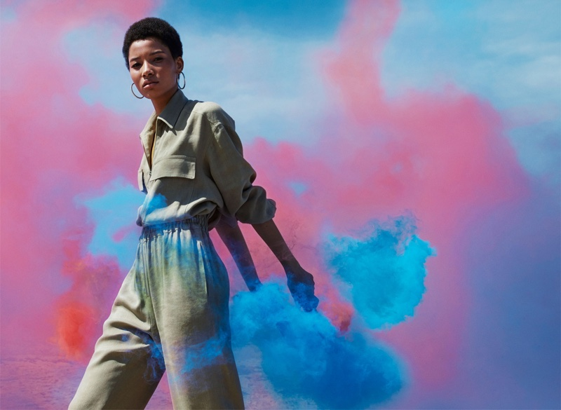 Lineisy Montero wears a green jumpsuit in Zara's spring 2016 campaign