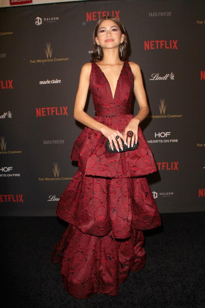 JANUARY 2016: Zendaya at the 2016 Weinstein Company Golden Globes Party wearing a Marchesa dress. Photo: CarlaVanWagoner / Shutterstock.com