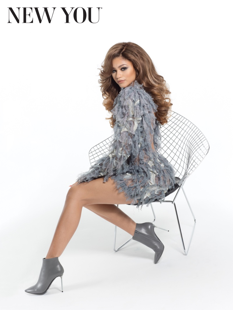 Zendaya turns up the glam in a silver, ruffle embellished dress