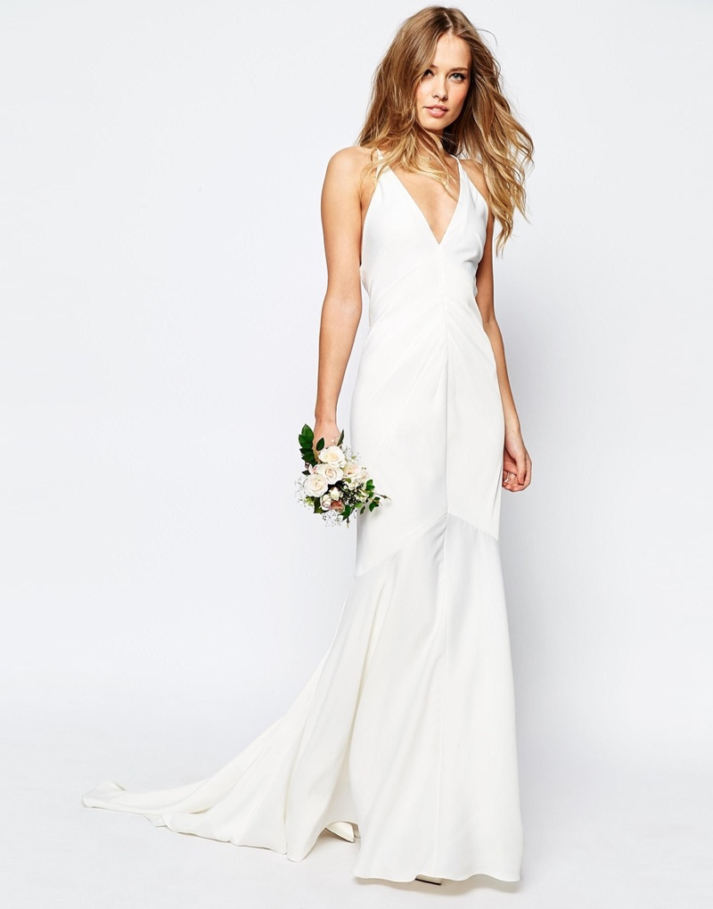 ASOS Bridal Deep Plunge Strappy Fishtail Wedding Dress