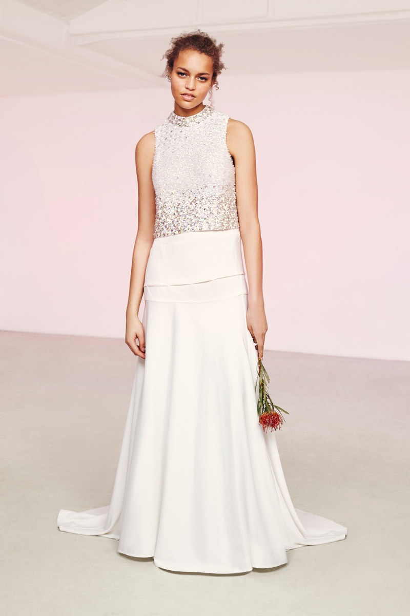 Model wears embellished popover top with long skirt from ASOS Bridal