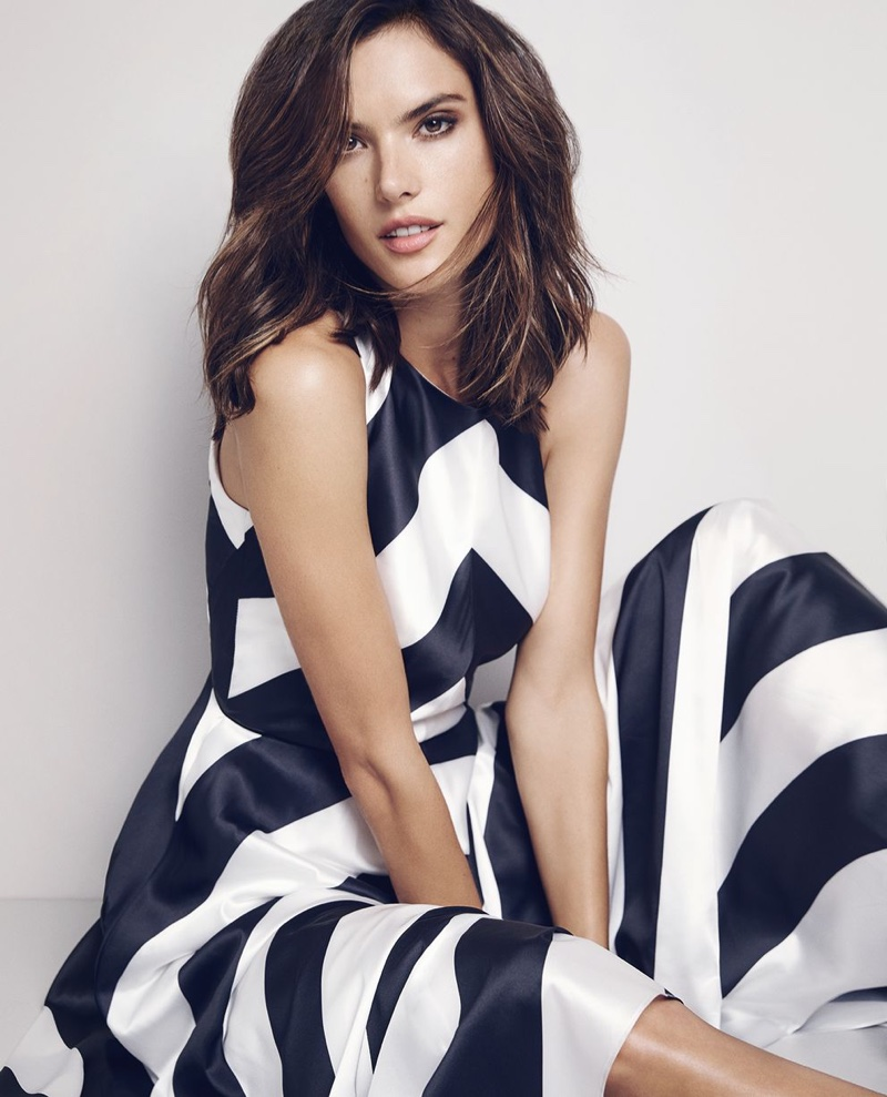 Alessandra Ambrosio wears a ladylike dress with black and white stripes from Coast
