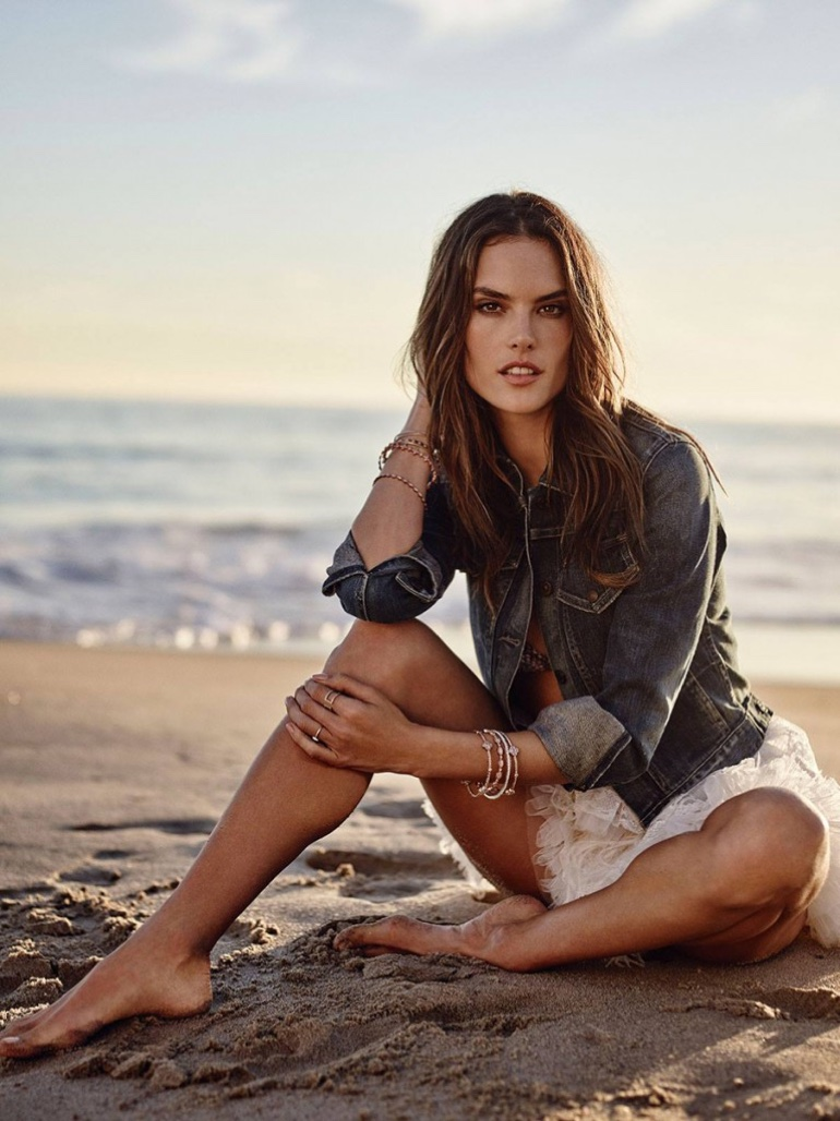 Alessandra Ambrosio poses on the beach for Cosmopolitan Spain