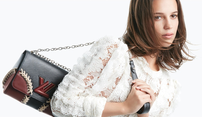 Alicia Vikander Detail: Alicia Vikander Louis Vuitton Twist Handbag 2016 Campaign