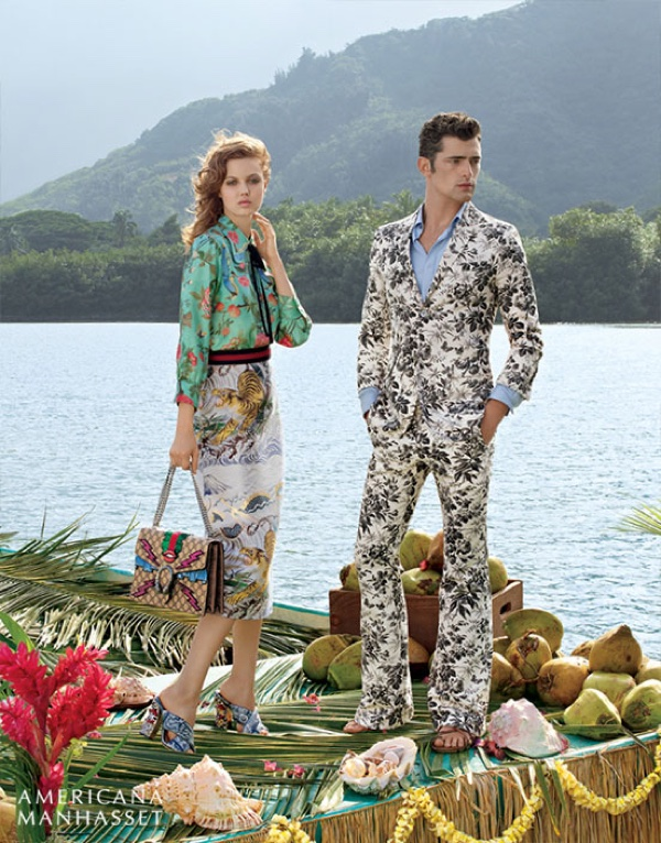 Lindsey Wixson poses with Sean O'pry in looks from Gucci's spring 2016 collection