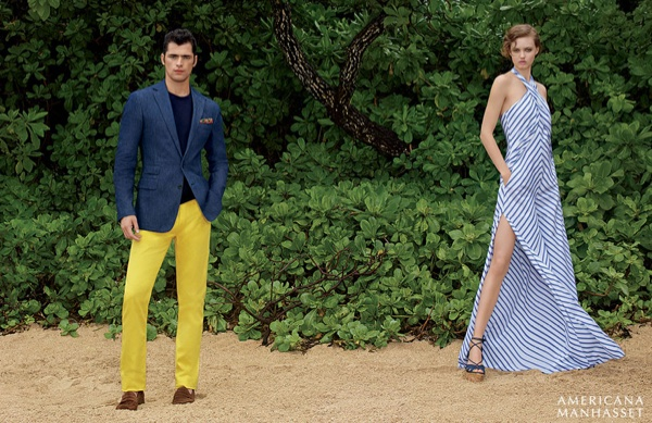 Lindsey Wixson and Sean O'Pry model Ralph Lauren for Americana Manhasset's spring 2016 campaign