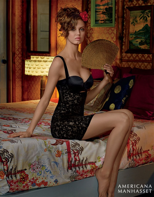 Photographed for Americana Manhasset's spring 2016 campaign, Lindsey Wixson poses in a Wolford bodysuit