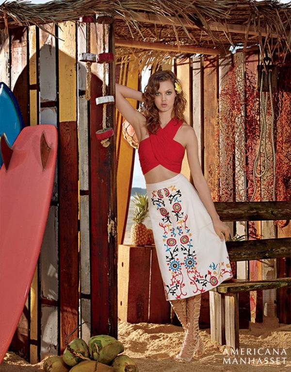 Lindsey Wixson models an Alice + Olivia red crop top with floral embellished skirt