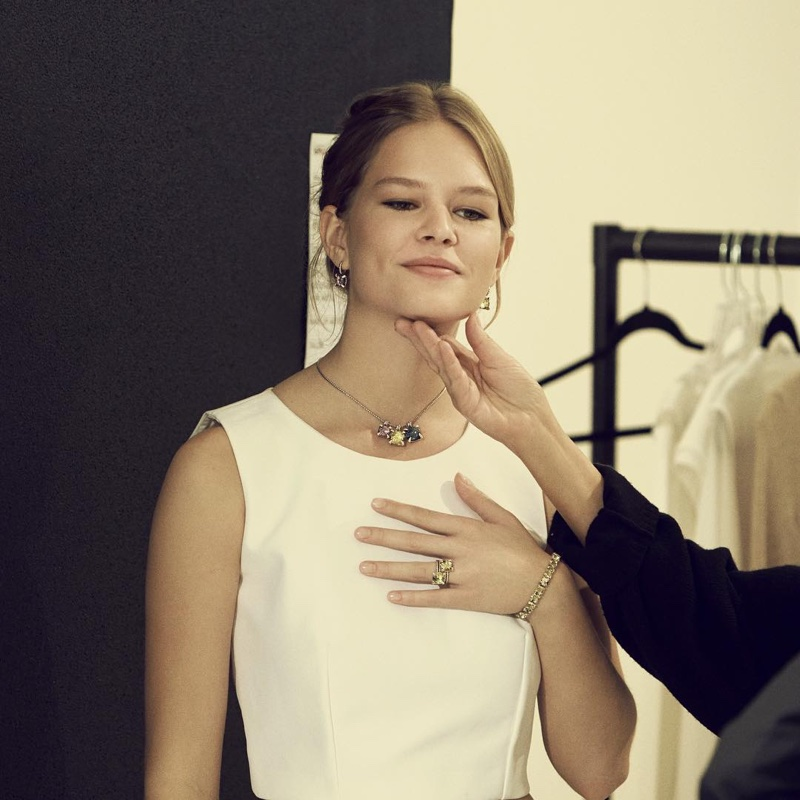 Anna Ewers captured behind the scenes at jewelry brand David Yurman's spring 2016 campaign.