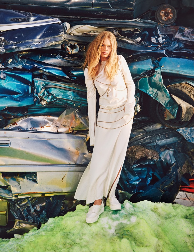 Anna Ewers is Junkyard Chic in All White Looks for W
