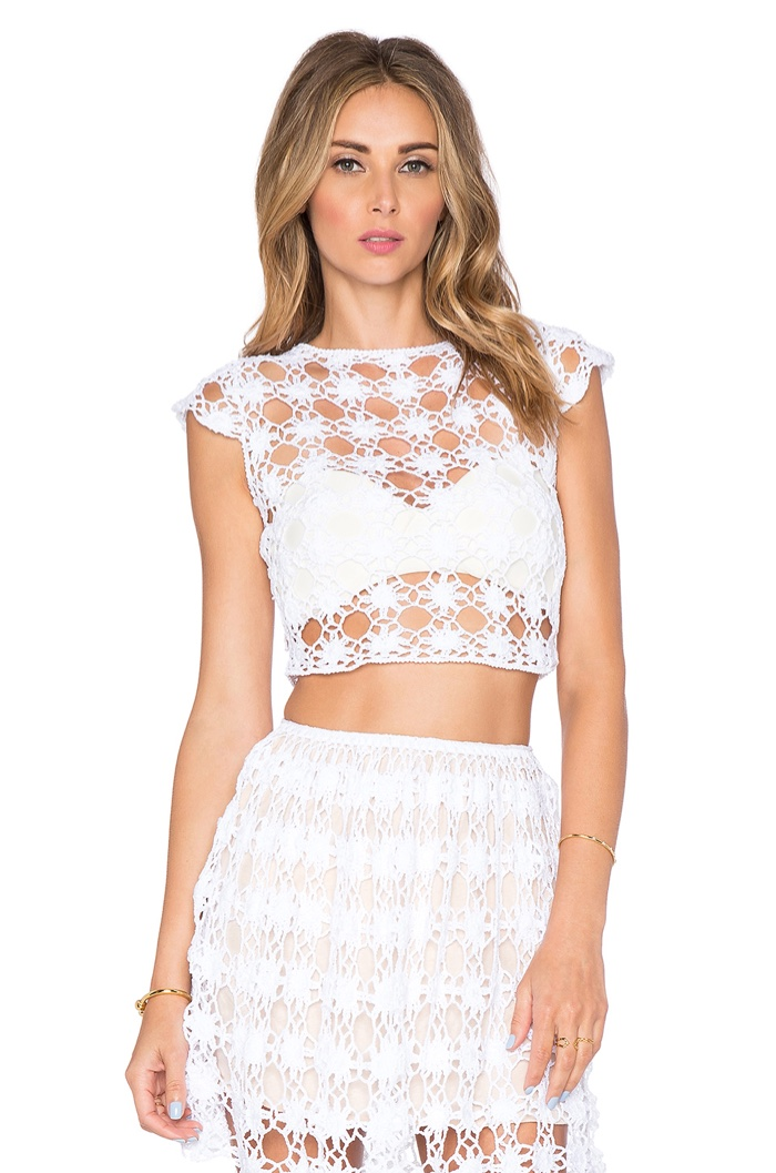 Anna Kosturova Bella Short Sleeve Crop Top and Skirt