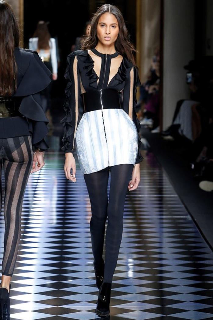 Cindy Bruna walks the runway at Balmain's fall-winter 2016 show presented during Paris Fashion Week