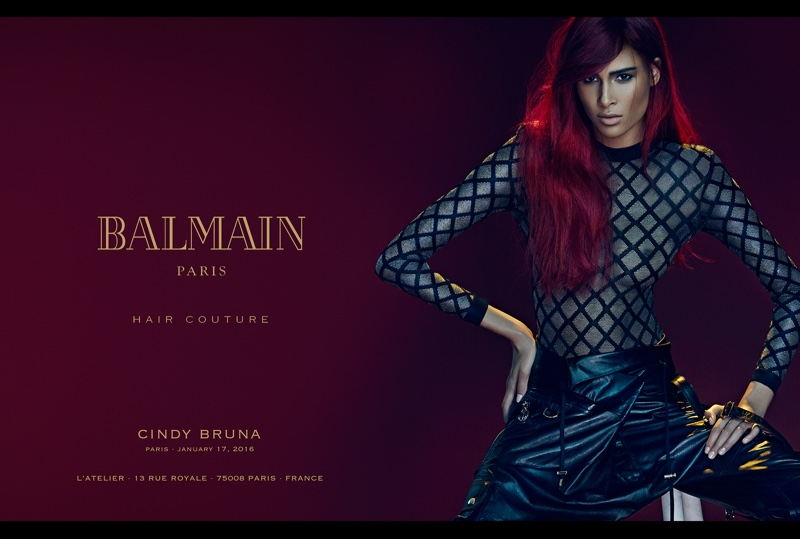 Cindy Bruna models a red hairstyle in Balmain Hair Couture's spring 2016 cmapaign
