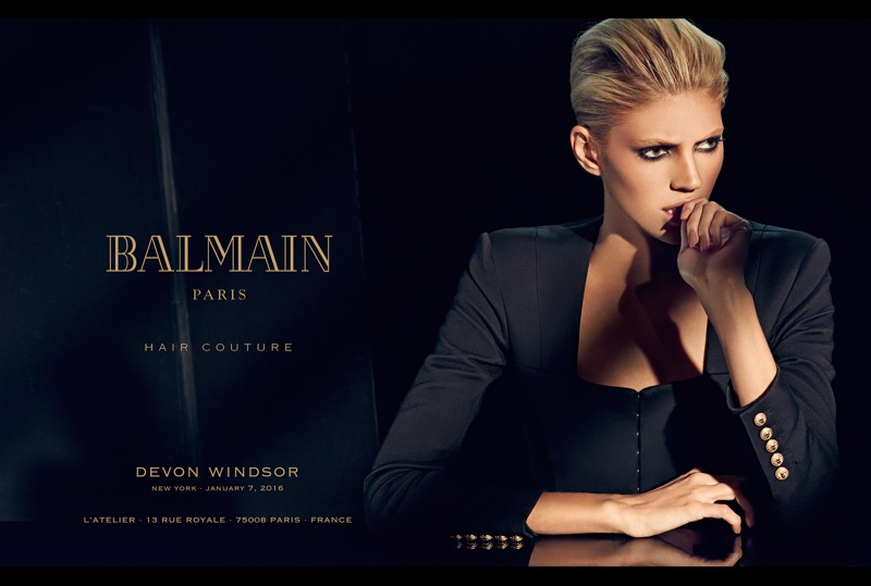 Devon Windsor models a short hairstyle in Balmain Hair Couture's spring 2016 campaign