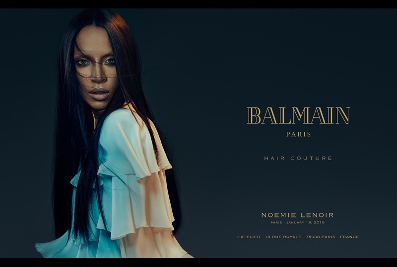 Noemie Lenoir wears a long, straight hairstyle in Balmain Hair spring 2016 campaign