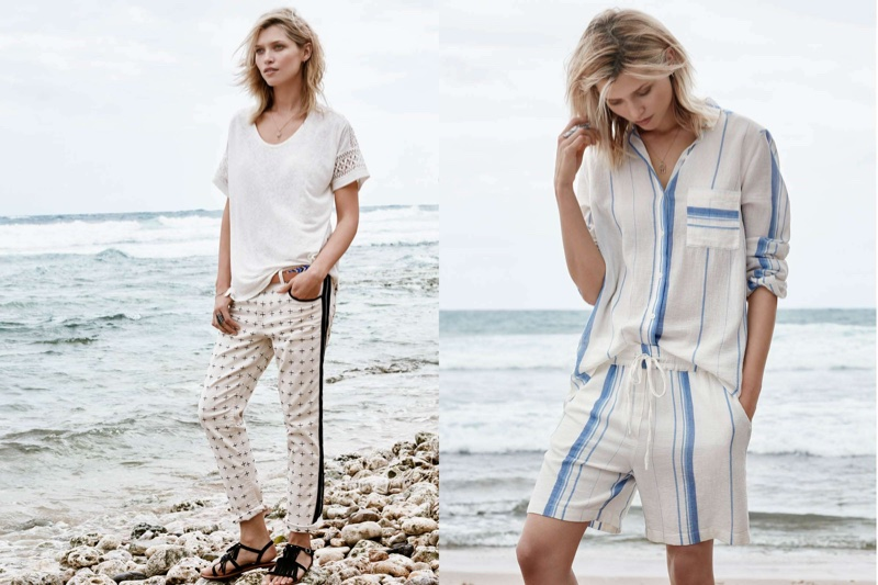 (Left) H&M Linen-Blend Top with Lace, Skinny Low Jeans and Sandals with Fringe (Right) H&M Cotton Shirt and Cotton Shorts