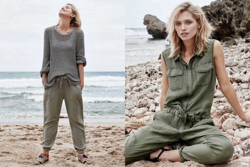 (Left) H&M Hole Patterned Sweater, Conscious Lyocell Joggers, Lace Trimmed Tank Top and Sandals with Tassels (Right) H&M Sleeveless Jumpsuit and Sandals with Fringe