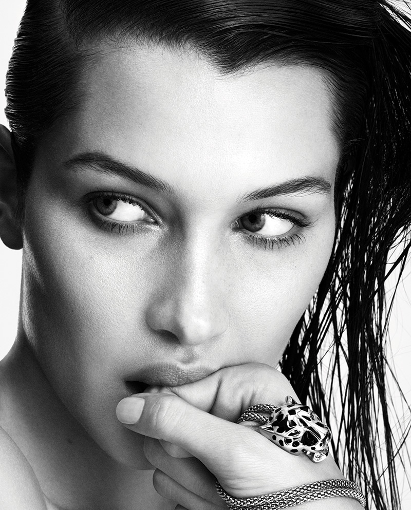 Bella Hadid wears her hair wet in this black and white shot