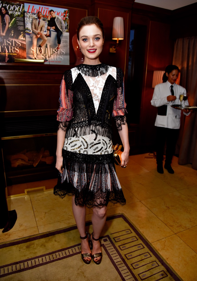 Bella Heathcote wears a mixed-media Rodarte dress at The Hollywood Reporter dinner. Photo: Getty Images
