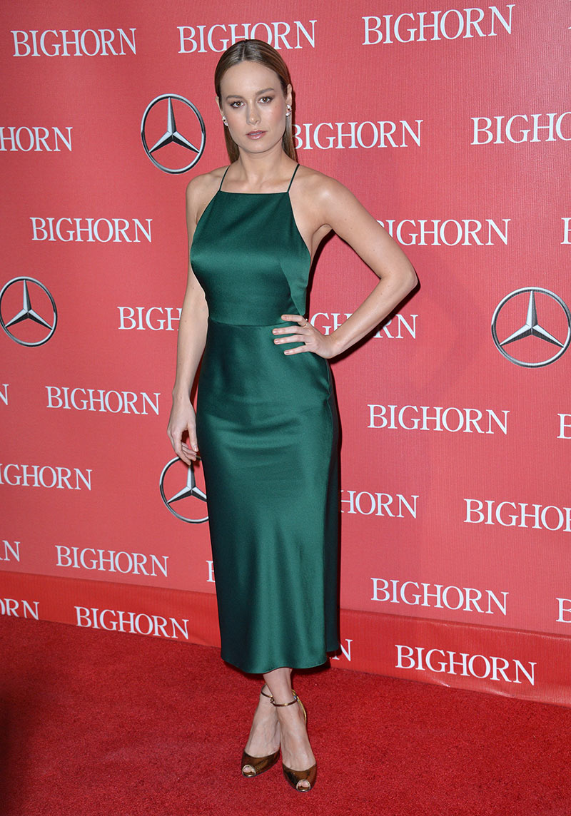 Brie Larson stepped out in a green Jason Wu slip dress cut at mid-length. Photo: Featureflash / Shutterstock.com
