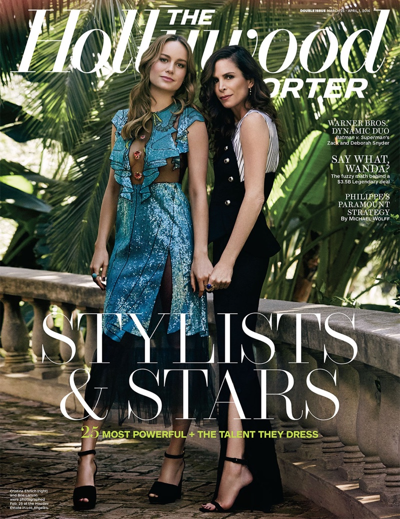 Brie Larson and stylist  Cristina Ehrlich on The Hollywood Reporter's March 2016 cover