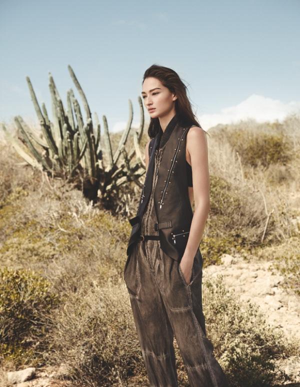 Bruna Tenorio poses in a Louis Vuitton vest and jumpsuit
