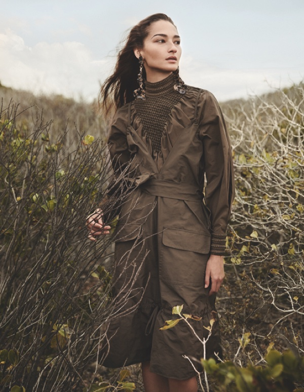 Bruna Tenorio goes outdoors in a high-neck Fendi top and