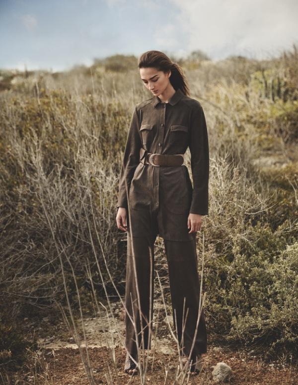 Bruna Tenorio models a khaki jumpsuit