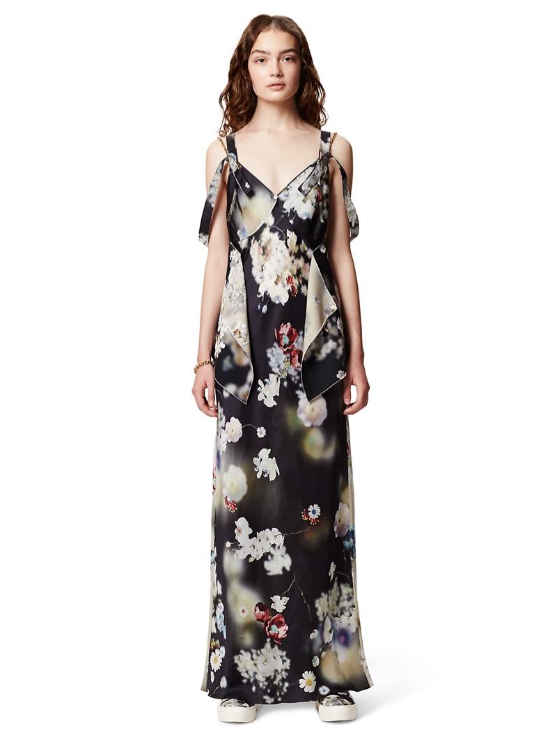 Calvin Klein Collection Blossom Print Silk Deconstructed Slip Dress