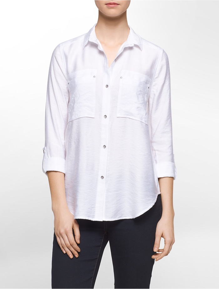 Calvin Klein White Label Crinkle Textured Utility Pocket Shirt