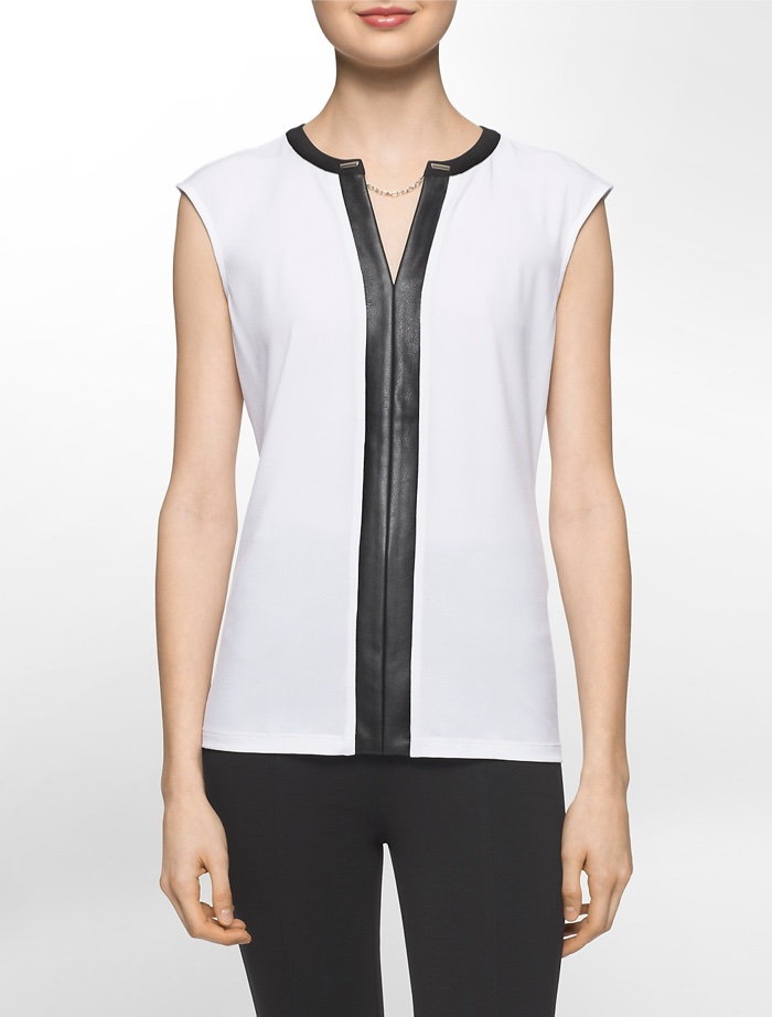 Calvin Klein White Label Faux Leather Trimmed Top