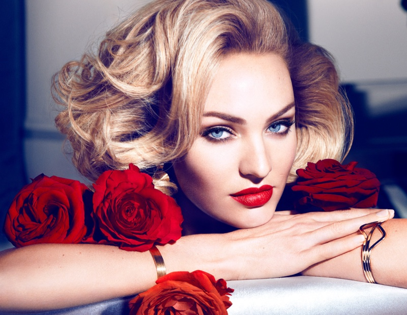 Candice Swanepoel poses for Max Factor Marilyn Monroe Lipstick Collection