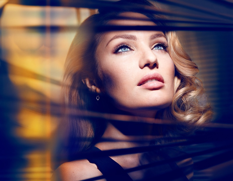 Candice Swanepoel poses for Max Factor Voluptuous False Lash Effect