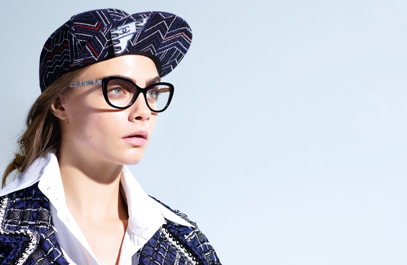 Cara Delevingne models an optical style from Chanel Eyewear's spring 2016 collection
