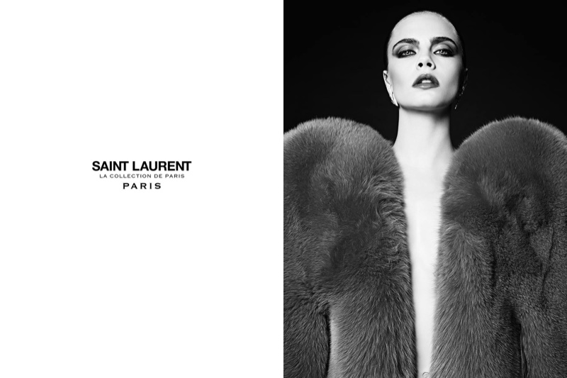 Cara Delevingne Goes Ultra-Glam For Saint Laurent`s Paris Collection