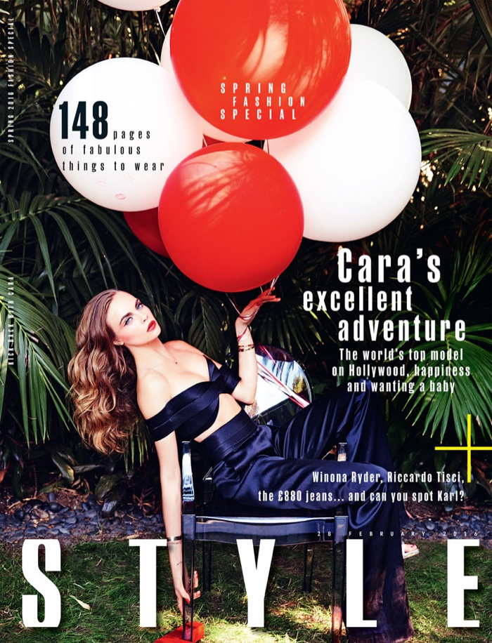 Cara Delevingne on Sunday Times Style February 28, 2016 Cover