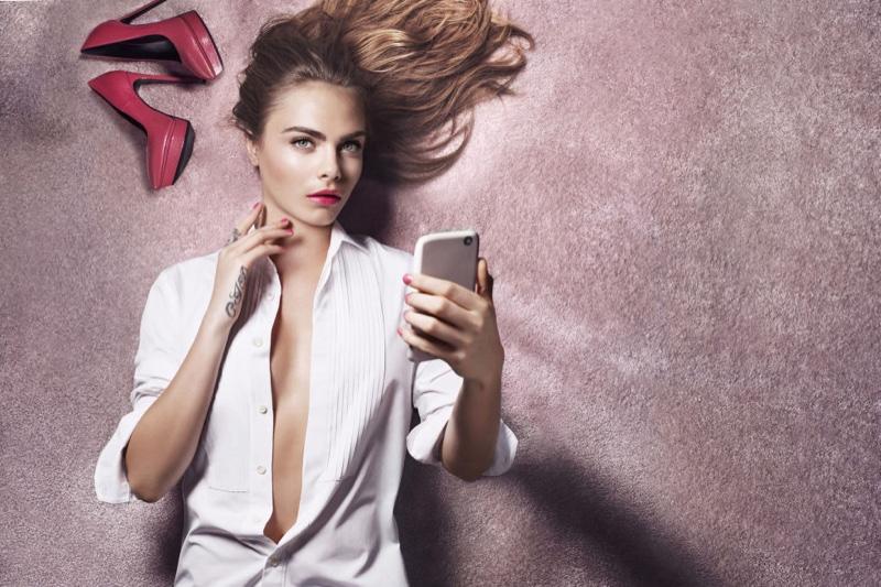 Cara Delevingne stars in YSL Beauty Rouge Volupte Shine spring 2016 campaign