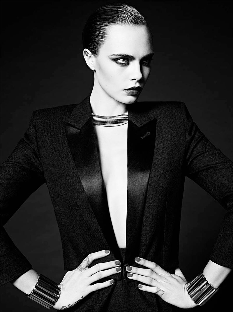Cara Delevingne Goes Ultra-Glam for Saint Laurent's Paris Collection