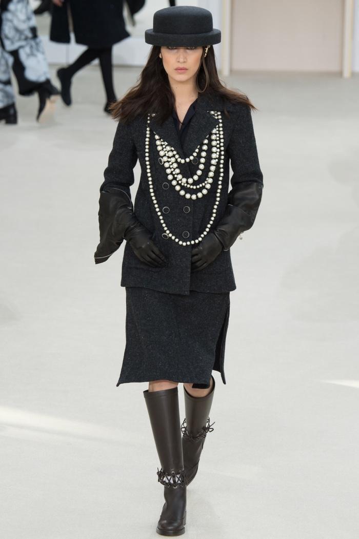 Bella Hadid walks the runway at Chanel's fall-winter 2016 show presented during Paris Fashion Week