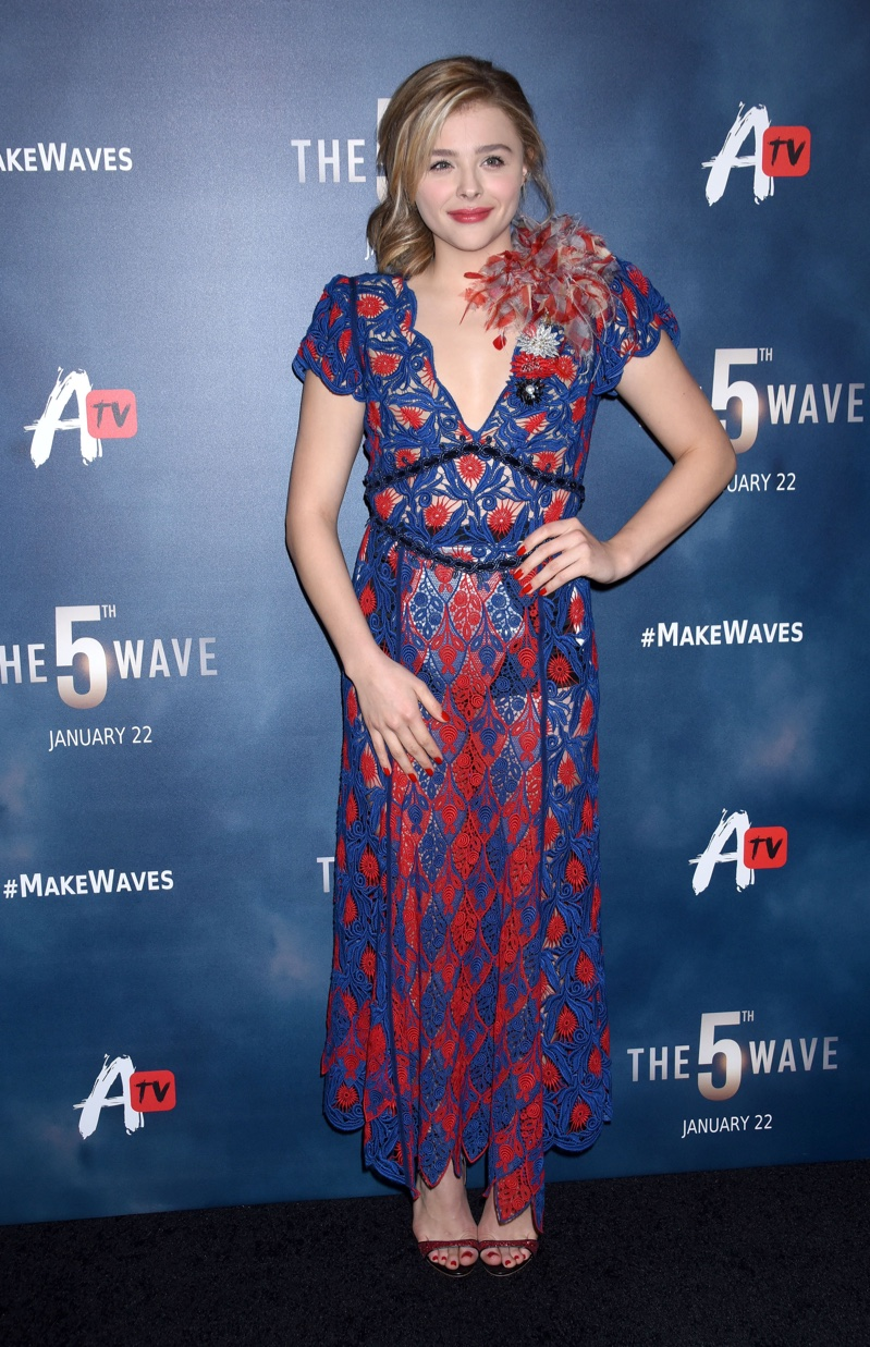 JANUARY 2016: Chloe Grace Moretz attends the premiere of The 5th Wave wearing a blue and red Marc Jacobs dress. Photo: Ga Fullner / Shutterstock.com
