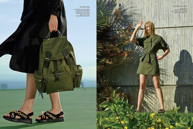 (Left) Editorial features Burberry large chain sneaker sandals, Rucksack and black trench coat (Right) Suvi models Burberry Brit military dress