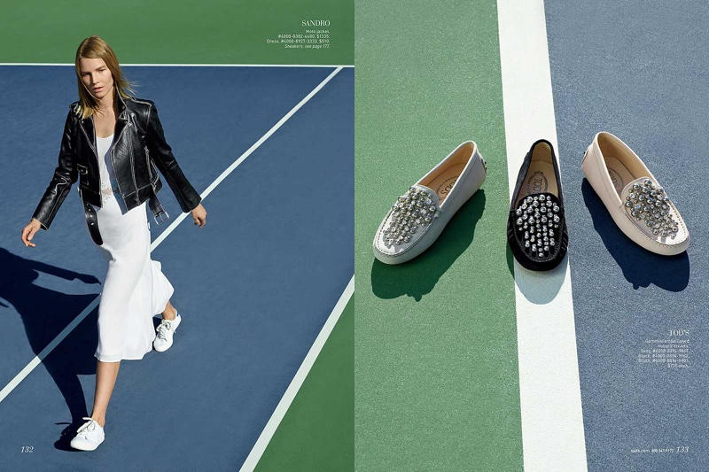 (Left) Suvi wears Sandro moto jacket and white dress (Right) Tod's embellished loafers