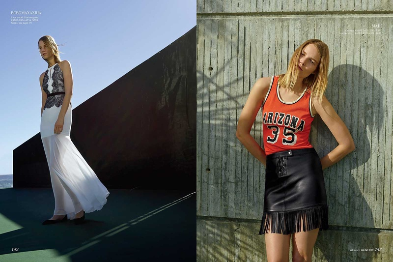 (Left) Suvi wears BCBG Max Azria dress with lace detail (Right) Suvi models Maje knit basketball tank and leather skirt