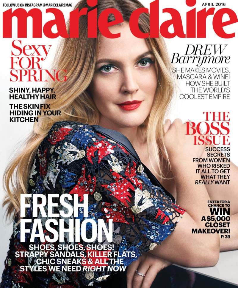 Drew Barrymore on Marie Claire April 2016 Cover