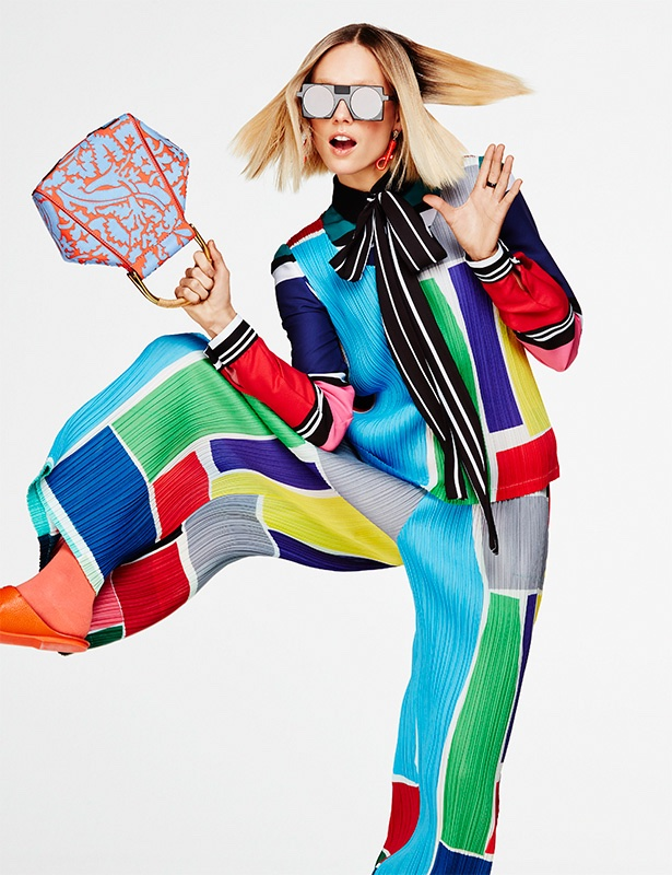 ARTY COOL: The blonde model looks full of energy in an Elie Saab top and pants with color blocking